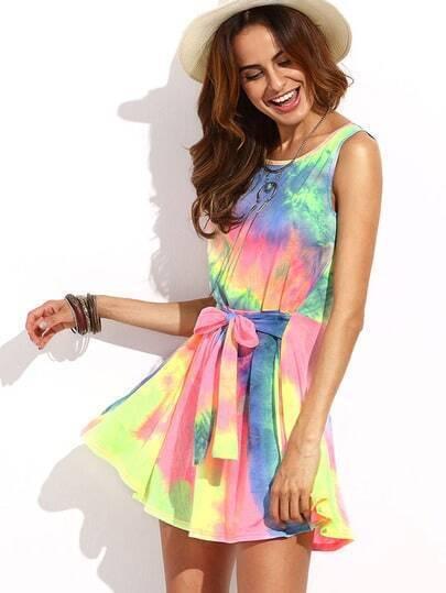 Multicolor Tie-dye Tie Waist Sleeveless Dress