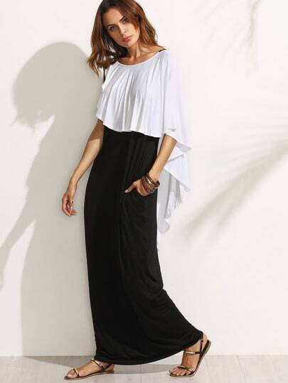 V-cut Back Frill Detail Floor Length Dress