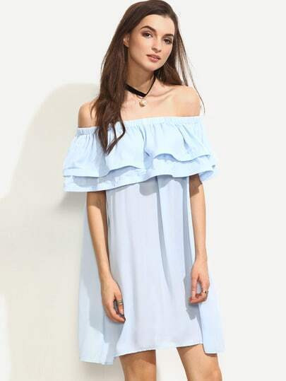 Blue Ruffle Off The Shoulder Shift Dress