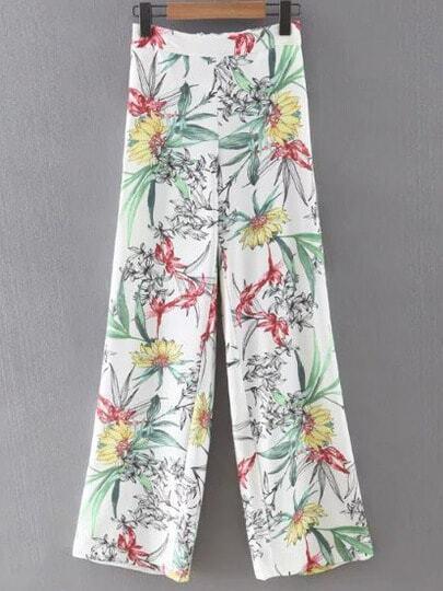 White Elastic Waist Pocket Floral Pants