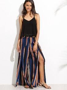 Stripe Split Side Pants With Belt