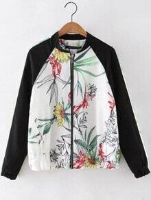 White Elastic Cuff Floral Zipper Jacket