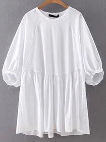 White Lantern Sleeve Plain Shift Dress