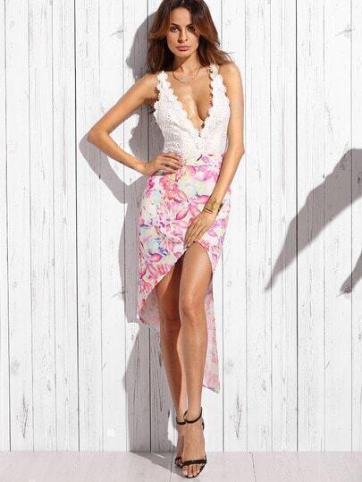Multicolor Deep V Neck Printed Asymmetric Dress