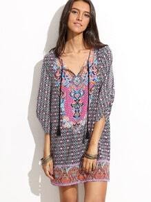 Multicolor Half Sleeve V Neck Printed Dress