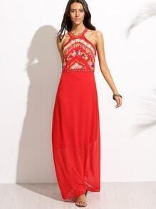 Red Halter Embroidery Hollow Back Maxi Dress