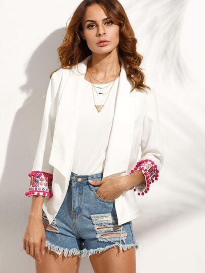 White Lapel Embroidered Pompom Cuff Blazer