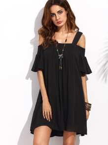 Open Shoulder Ruffle Sleeve Swing Dress