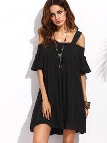 Black Cold Shoulder Ruffle Sleeve Shift Dress