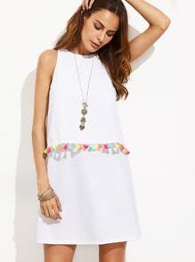 White Tassel Trim Sleeveless A-line Dress