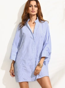 Blue Striped Shift Shirt Dress