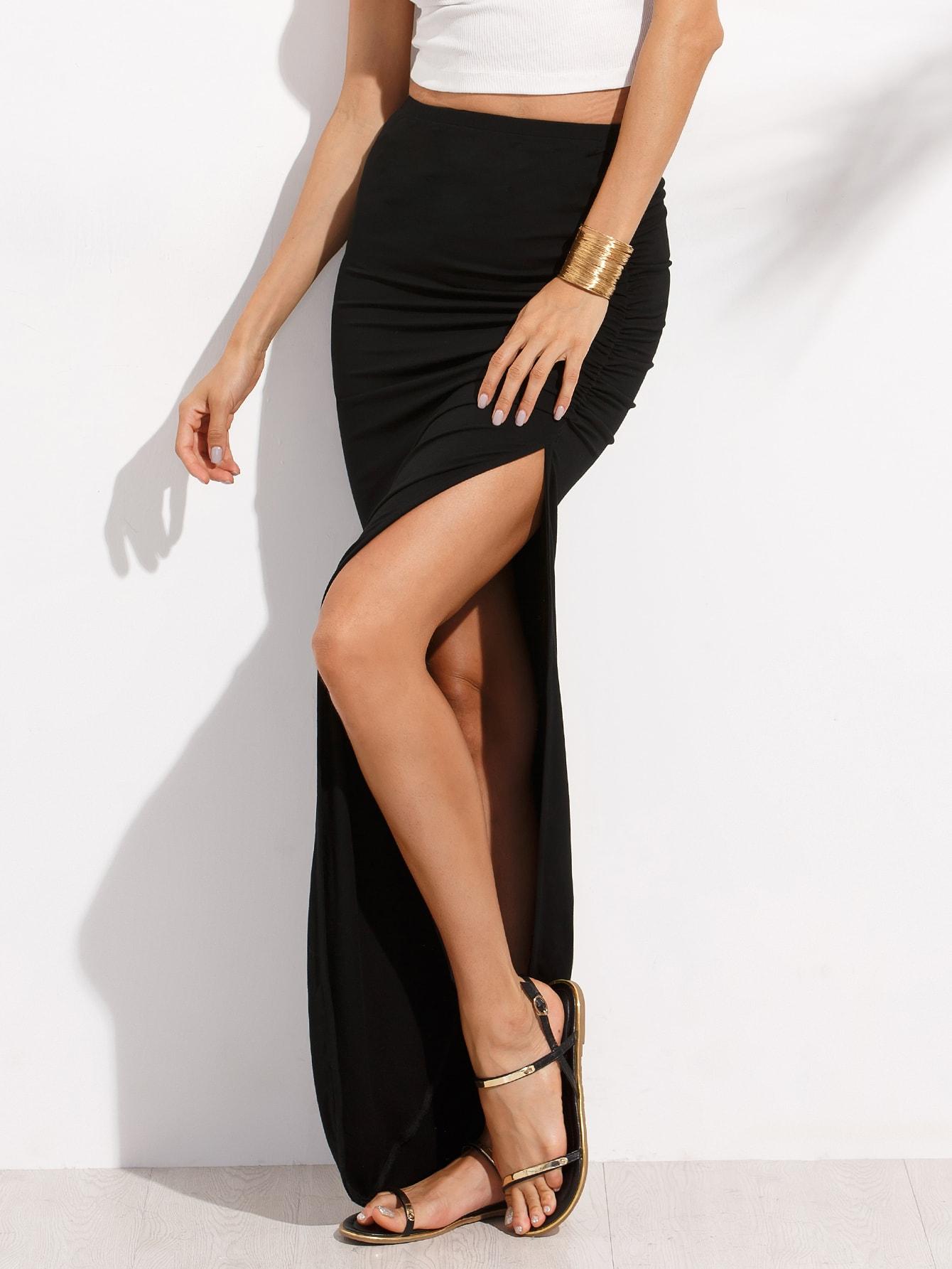 black split asymmetrical maxi skirt shein sheinside