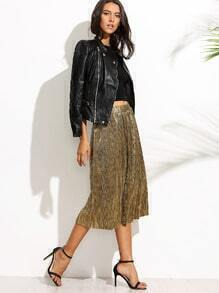 Golden Metallic Pleated Midi Skirt pictures