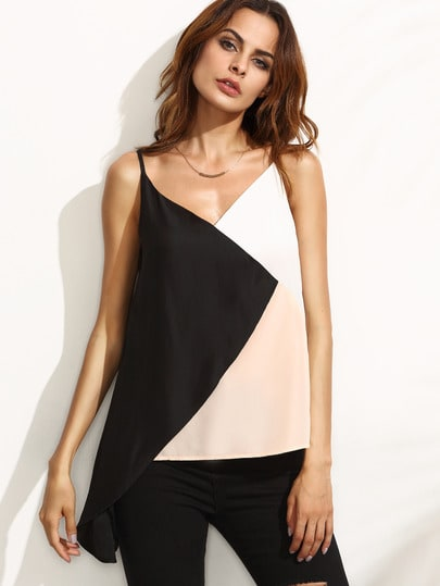 Contrast Cut And Sew Asymmetrical Cami Top