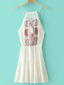 Beige Spaghetti Strap Tie Neck Embroidery Dress