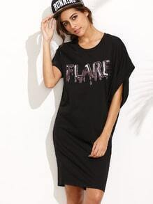 Black Letter Sequined Casual Dress