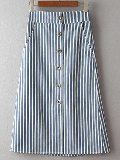 Blue Single Breasted Stripe Pocket Skirt
