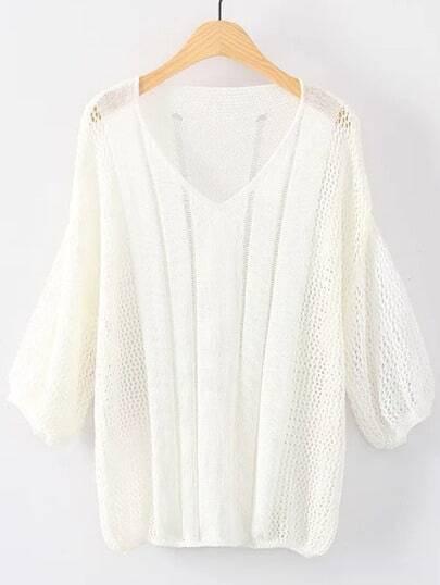 Suéter escote V puño elástico - blanco