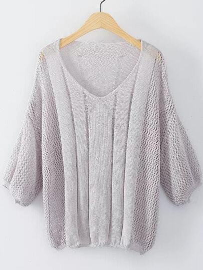 Suéter escote V puño elástico - gris