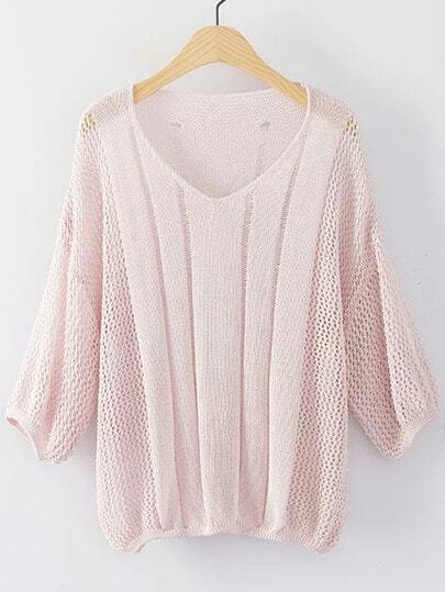Suéter escote V puño elástico - rosa