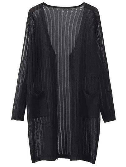 Cárdigan manga larga bolsillo - negro