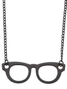 Black Glasses Pendant Necklace