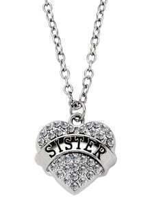 Silver Rhinestone Heart Shaped SISTER Lettering Pendant