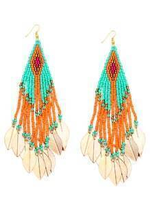 Colorful Beaded Leaf Metal Sheet Fringe Earrings