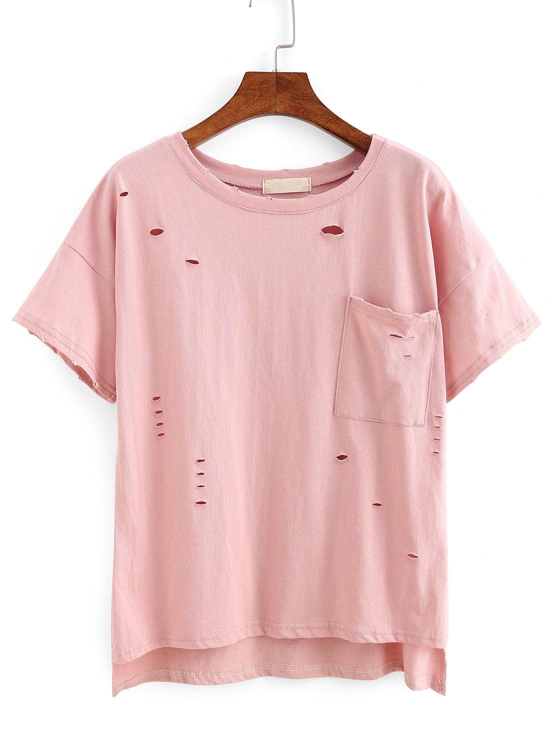 Фото Ripped High-Low Pocket T-shirt. Купить с доставкой