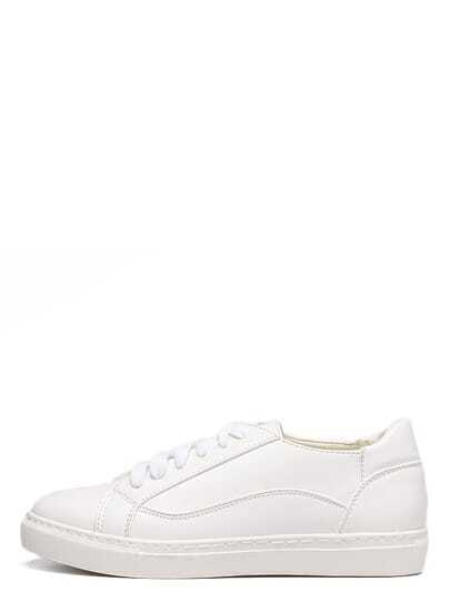 White Round Toe Lace-up Sneakers