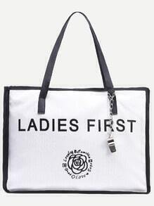 Black White Letter Print Canvas Tote Bag