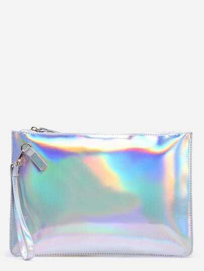 White Glitter Clutch Bag