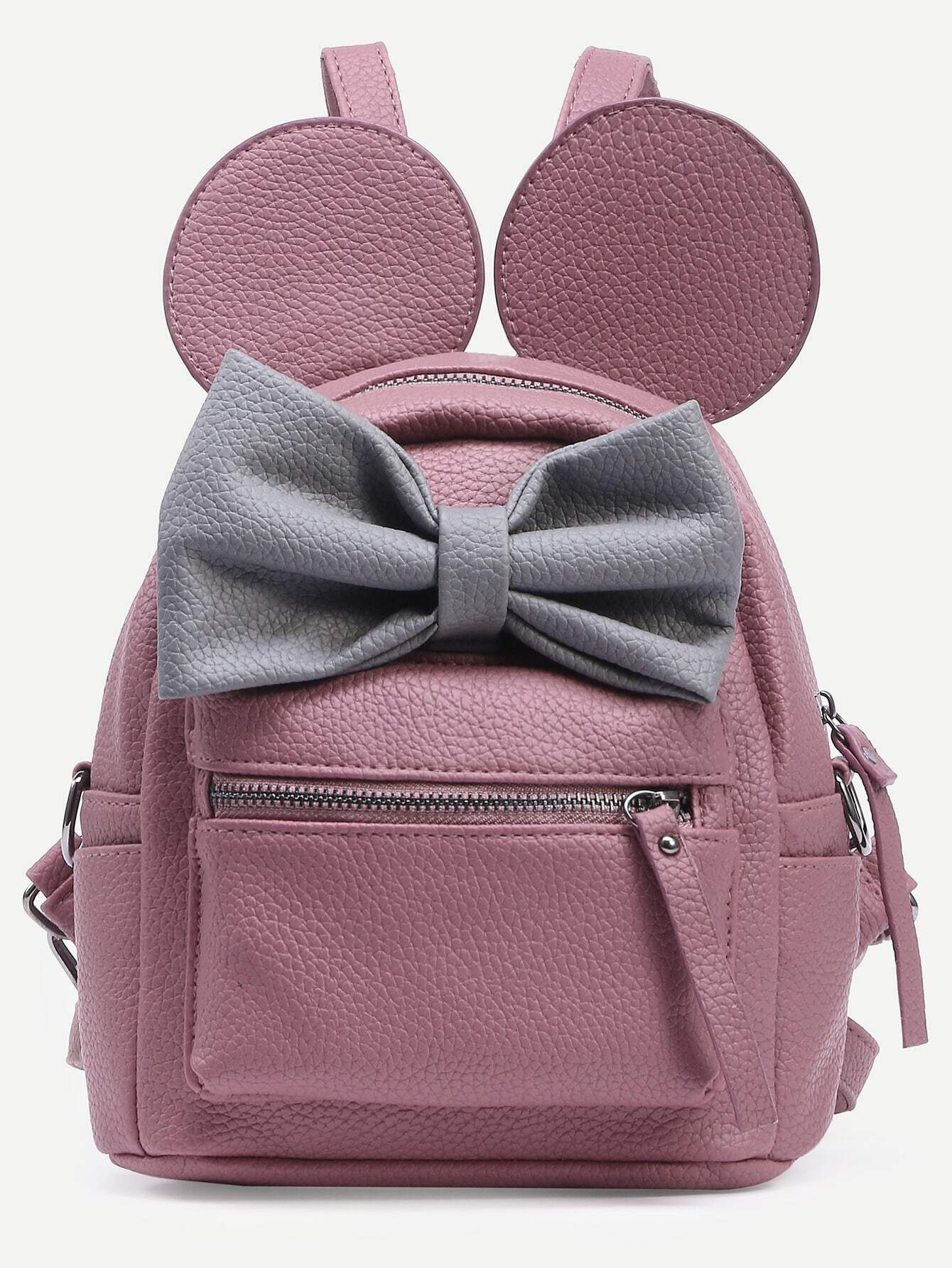 Pink Contrast Bow BackpackPink Contrast Bow Backpack<br><br>color: Pink<br>size: None