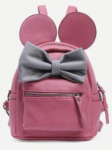 Pink Contrast Bow Backpack
