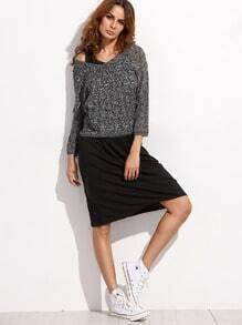 Black Tank Dress With Grey Loose Sweater