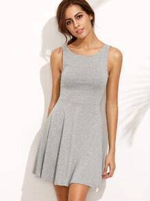 Grey V Cut Back A-Line Dress