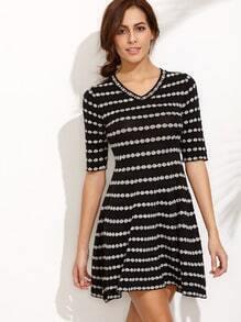 Black V Neck Elbow Sleeve Print A-Line Dress