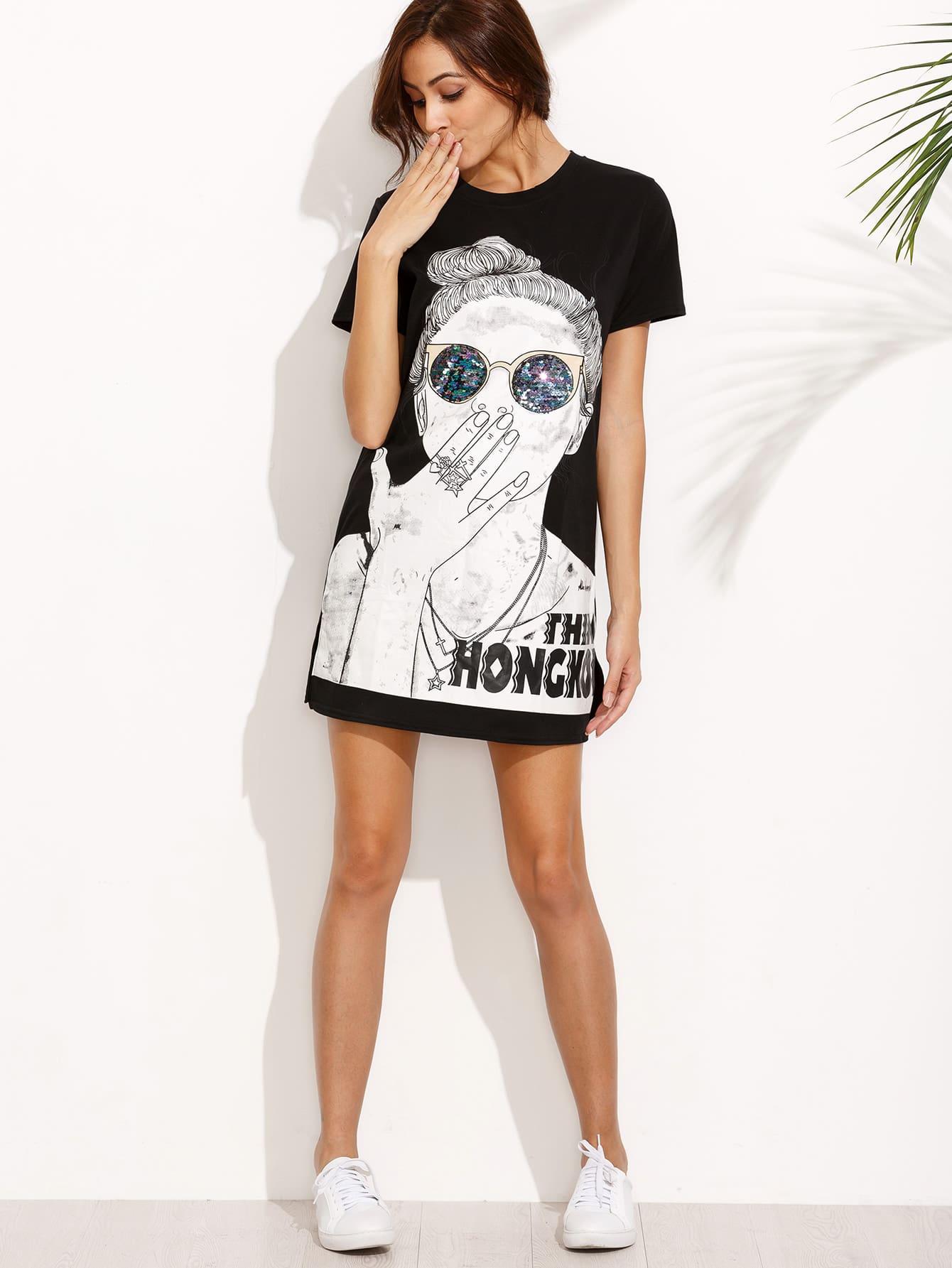 Black Print Split Side Tshirt Dress dress160718102