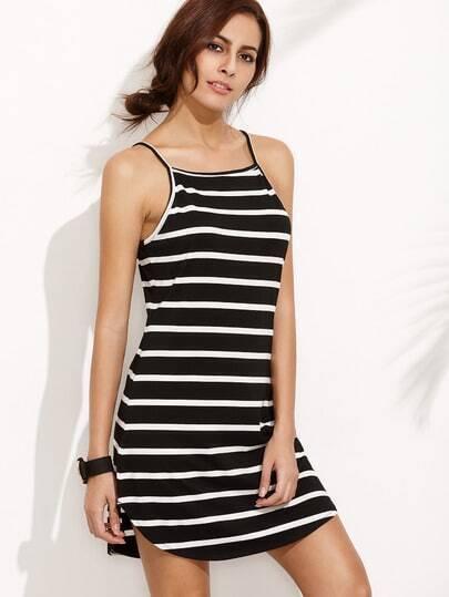 Spaghetti Strap Striped Curved Hem Dress