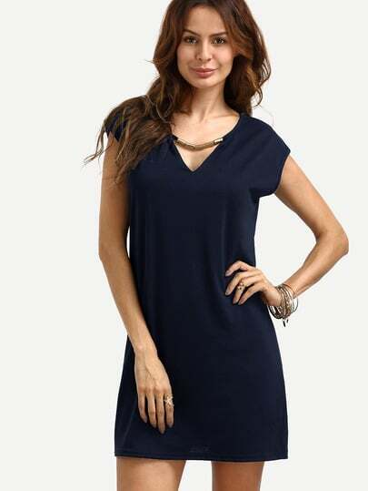 V Cut Cap Sleeve Dress With Metal Bar Detail
