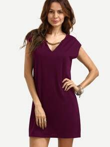 Burgundy V Neck Shift Dress