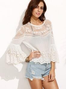 Bell Sleeve Mesh Insert Embroidered Hollow Out Blouse