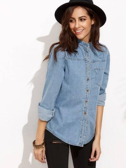 Blue Stand Collar Pockets Denim Blouse