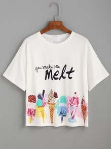 White Ice Cream Print T-shirt