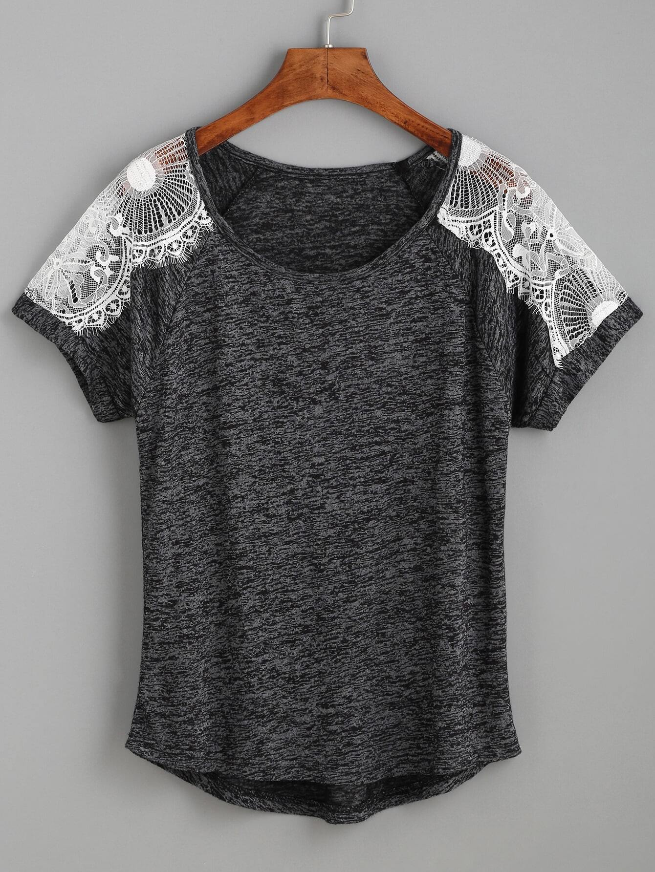 Фото Heather Grey Contrast Lace Raglan Sleeve T-shirt. Купить с доставкой