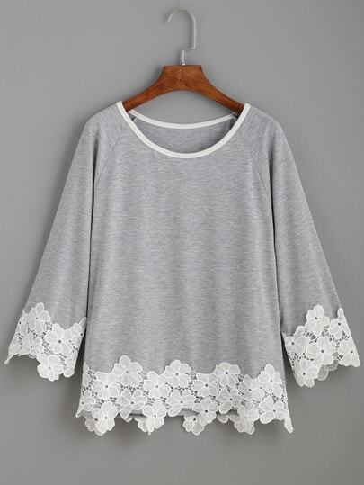 Raglan Sleeve Contrast Applique T-shirt