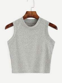 Grey Round Neck Tank Top