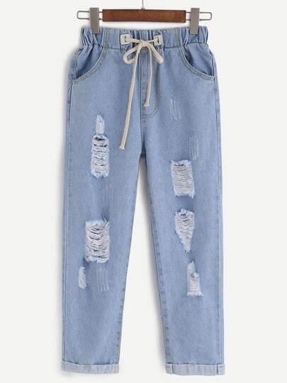 Blue Ripped Drawstring Denim Pants
