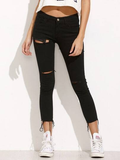 Black Ripped Frayed Denim Pants