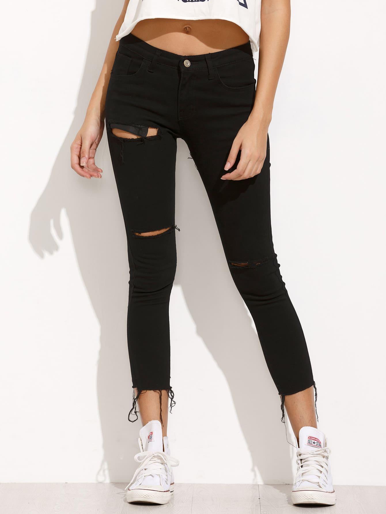 Фото Black Ripped Frayed Denim Pants. Купить с доставкой